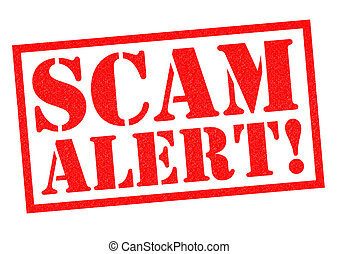 SCAM ALERT! red Rubber Stamp over a white background.