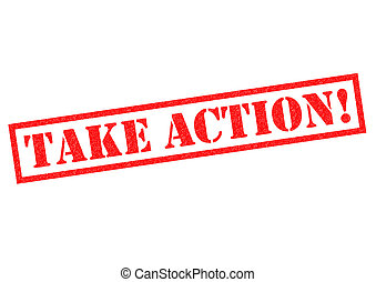 TAKE ACTION! red Rubber Stamp over a white background.