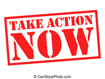 TAKE ACTION NOW red Rubber Stamp over a white background.