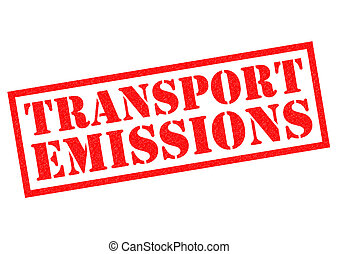 TRANSPORT EMISSIONS red Rubber Stamp over a white background...