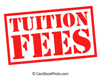 TUITION FEES red Rubber Stamp over a white background