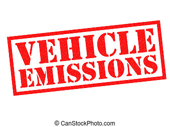 VEHICLE EMISSIONS red Rubber Stamp over a white background