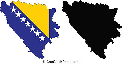 bosnia - vector map and flag of Bosnia with white...