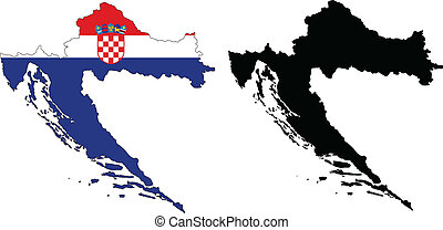 croatia - vector map and flag of Croatia with white...