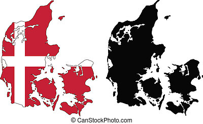 denmark - vector map and flag of Denmark with white...