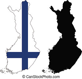 finland - vector map and flag of Finland with white...