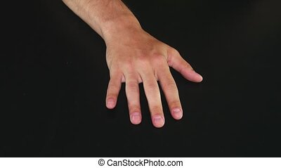 Male hands fingers impatiently tapping on table - Male hands...