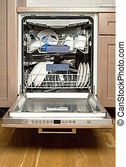 Utensils in dishwasher, opend door, kitchen furniture