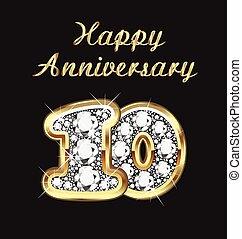 10 years anniversary birthday in gold and diamonds
