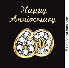 60 years anniversary birthday in gold and diamonds