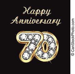 70 years anniversary birthday in gold and diamonds