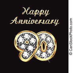 90 years anniversary birthday in gold and diamonds