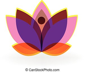 Logo lotus pink purple flower vector