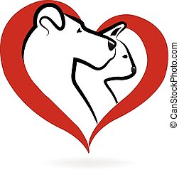 Cat and dog logo heart love icon vector design
