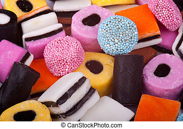 Licorice Allsorts - a colourful group of licorice sweets