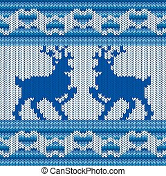 Knitted Pattern with two Reindeers - Ornamental Vector...