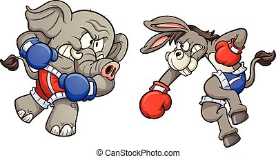 Donkey vs elephant - Democrat cartoon donkey and republican...