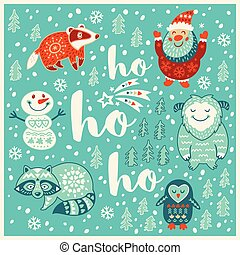 Greeting Holiday card with yeti, raccoon, santa and badger -...