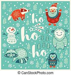 Greeting Holiday card with yeti, raccoon, santa and badger -...
