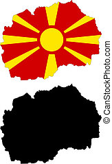 macedonia - vector map and flag of Macedonia with white...