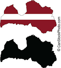 latvia - vector map and flag of Latvia with white...