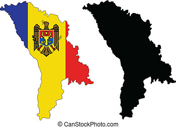 moldova - vector map and flag of Moldova with white...