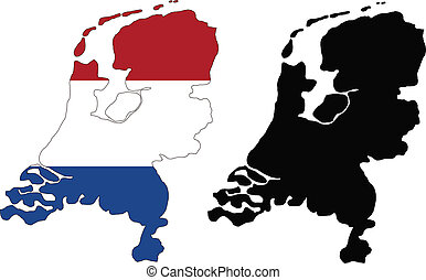 netherlands - vector map and flag of Netherlands with white...