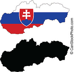 slovakia - vector map and flag of Slovakia with white...