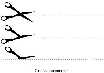 Scisor - Cut Here - simple sign, Scissor, cut here