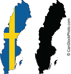 sweden - vector map and flag of Sweden with white...