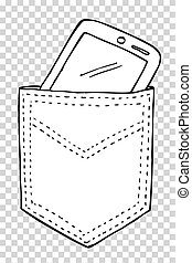 Smartphone in the Back Pocket - Vector Smartphone in the...