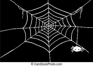 White Spider Web at black