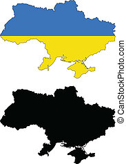 ukraine - vector map and flag of Ukraine with white...