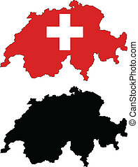 switzerland - vector map and flag of Switzerland with white...