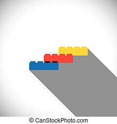 building blocks arranged as steps - vector icon this vector...