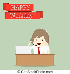 businessman is happy at the workday call center receive...