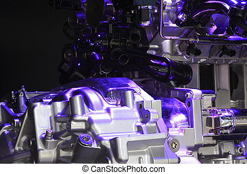 Violet light irradiation car engine of close-up - Violet...