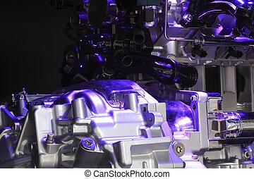 Violet light irradiation car engine of close-up - Violet...