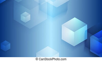 Bright blue moving cube shapes loopable video animation