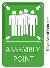 Assembly Point Sign at white background,