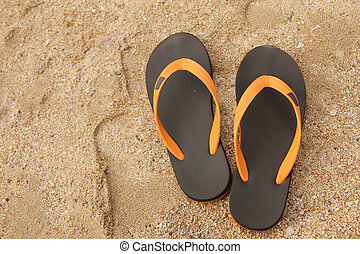 Flip flop shoes on the tropical beach