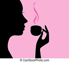 head - vector girl with cup of coffee