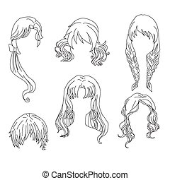 Hair styling for woman drawing Set 4