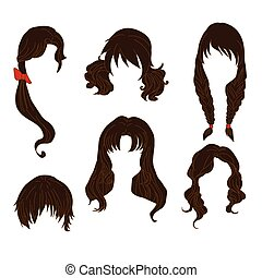 Hair styling for woman drawing Brown Set 4. illustration...