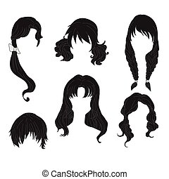 Hair styling for woman drawing Black Set 4. illustration...