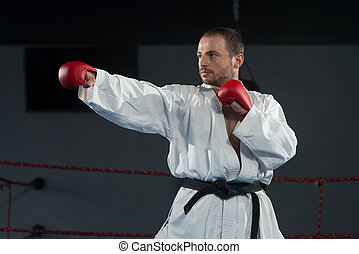 Man In White Kimono And Black Belt Training Karate - Young...