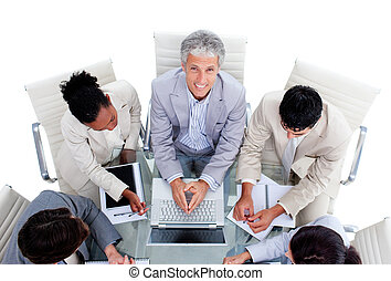 High angle of a positive business team during the meeting