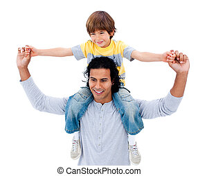 Happy father having fun with his son against a white...