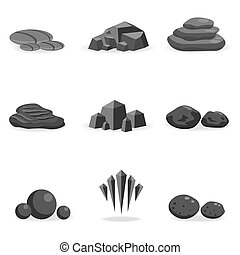 set stone, rock and pebble element decor isolated for game...