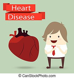 businessman presentation health with heart disease